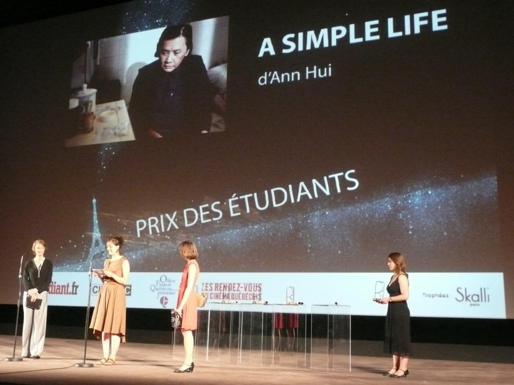 Remise du prix des étudiants pour A SIMPLE LIFE