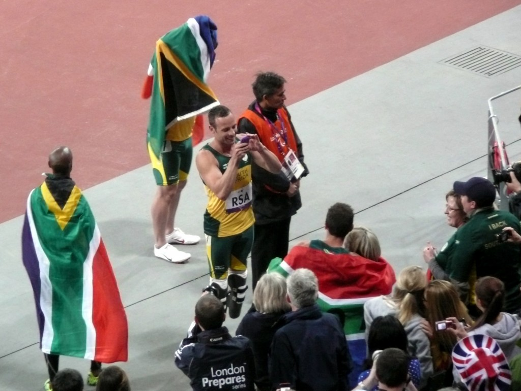 South African Team celebrating their World Record for the 4X100 meters relay