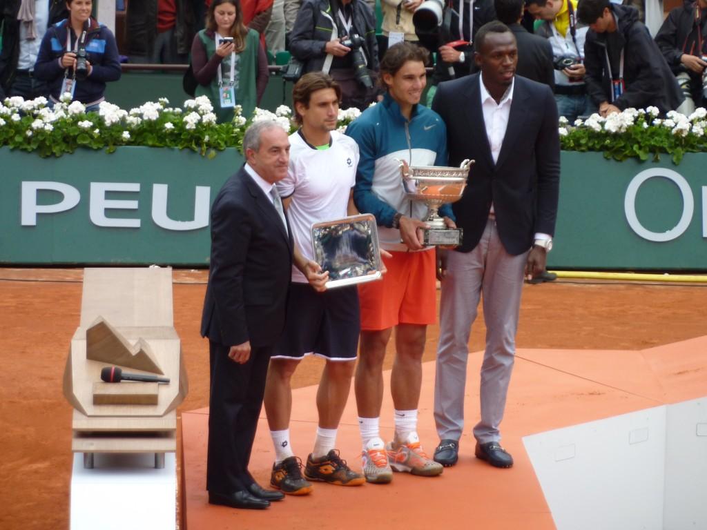 Usain Bolt avec David Ferrer et Rafael Nadal